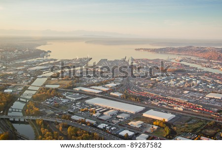 Aerial view of a large shipping port in Washington - stock photo