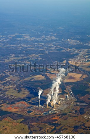 Aerial view of a power generating plant near Atlanta, Georgia vertical - stock photo