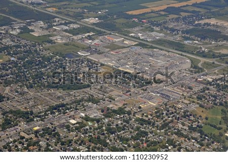 aerial view of a residential district with a shopping complex in the background, Belleville Ontario Canada - stock photo