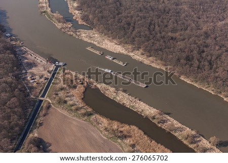 aerial view of a river barge in wroclaw city in Poland
