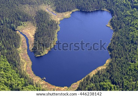 Aerial view of a small lake in the middle of a forest in Canada - stock photo