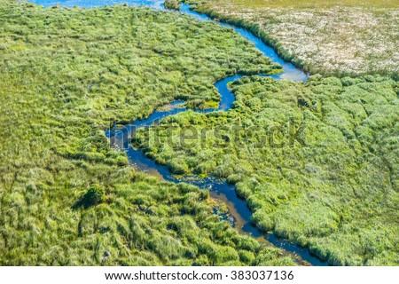 Aerial view of a small stream and lush green wetland in Okavango delta, Botswana. - stock photo