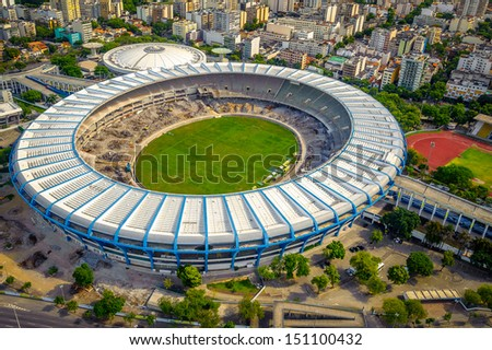 Aerial view of a soccer field in a city, Maracana Stadium, Rio De Janeiro, Brazil - stock photo