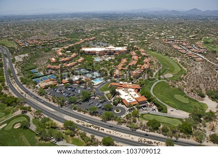 Aerial view of a southwest desert vacation resort - stock photo