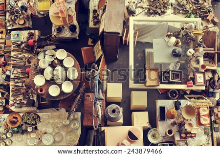 aerial view of a stall in a flea market full of bits and pieces - stock photo