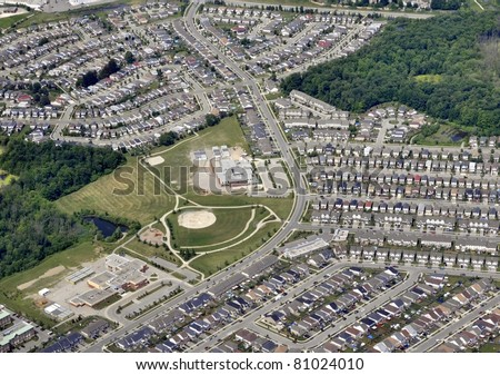 aerial view of a suburb of Kitchener-Waterloo, Ontario Canada