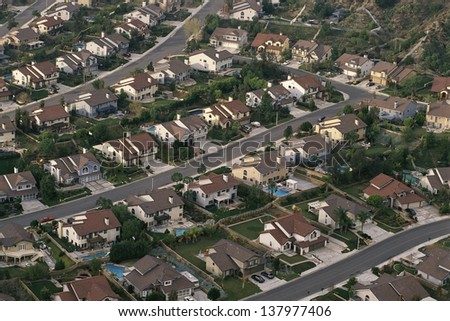 Aerial view of a suburban neighborhood - stock photo