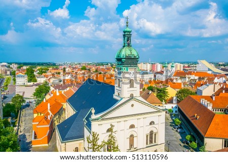 Aerial view of a white building of the roman cathedral in Gyor, Hungary