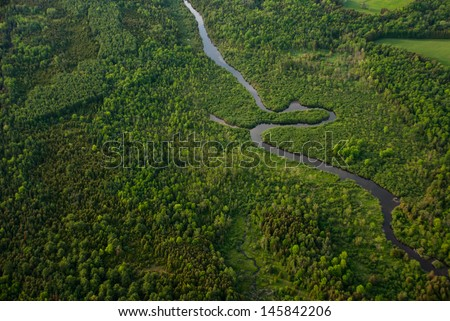 Aerial view of a winding river surrounded by green forest - stock photo