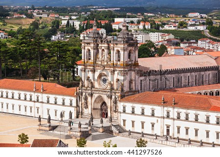 Aerial view of Alcobaca Monastery in Alcobaca, Portugal - stock photo