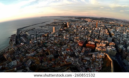 Aerial view of Alicante at dusk. Catalonia, Spain - stock photo