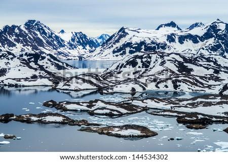 Aerial view of Ammassalik fjord, Greenland - stock photo