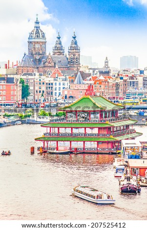 Aerial view of Amsterdam - stock photo
