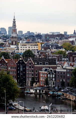 Aerial view of Amsterdam, Netherlands - stock photo