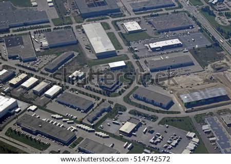 aerial view of an industrial area in Hagey Cambridge, Ontario Canada