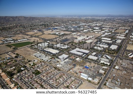 Aerial view of an Industrial Park area - stock photo