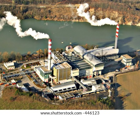 Aerial view of an industrial unit - stock photo