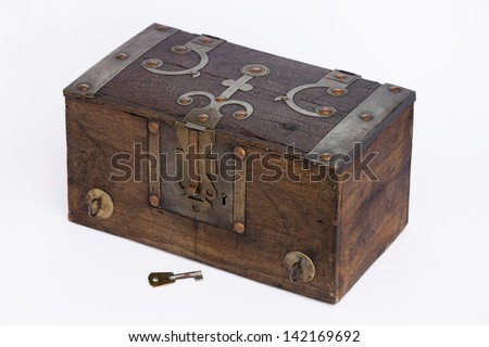Aerial view of an old wooden chest on white background. Wooden Chest.  - stock photo