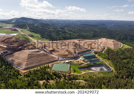 aerial view of an open pit mine in South Dakota - stock photo