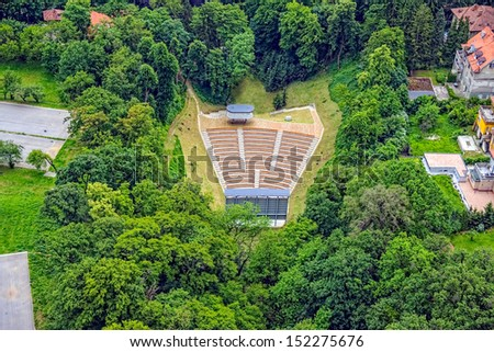 Aerial view of an small and simple open air theater. - stock photo