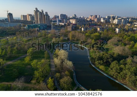 Aerial View of  Arboretum Peremohy known as Victory Park in Odeesa Ukraine. Looking towards Arkadia resort and Victory Square
