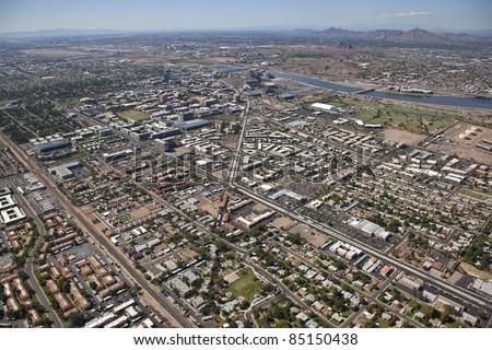 Aerial view of Arizona State University in Tempe, Arizona - stock photo