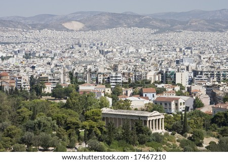 Aerial view of Athens, Greece with Temple of Hephaestus in the foreground.