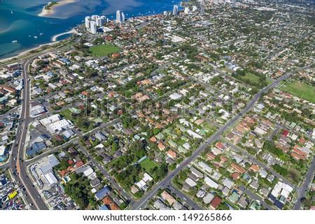 Aerial view of  australian coastal suburb - stock photo