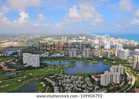 Aerial view of Aventura area, Florida, USA - stock photo