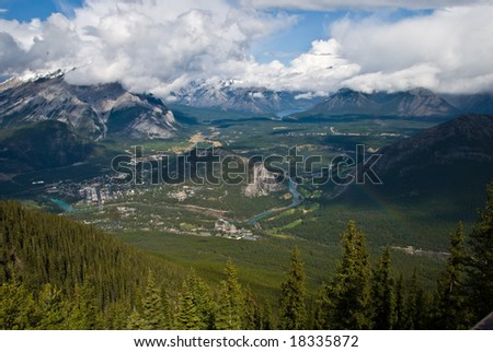 Aerial view of Banff town from Sulphur mountain in the Canadian Rockies - stock photo