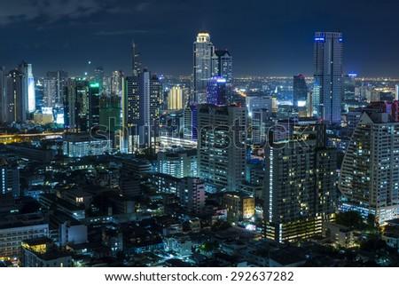 Aerial view of bangkok at twilight night. - stock photo