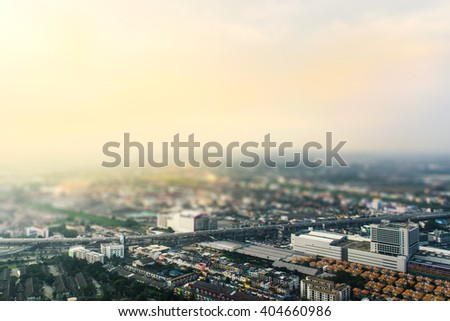 Aerial view of Bangkok city, applied tilt-shift blur and color filter - stock photo