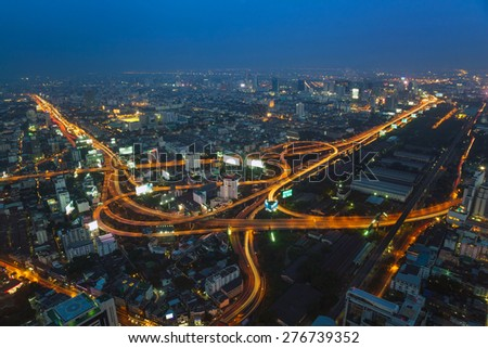 Aerial view of Bangkok city skyline, Thailand
