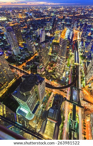 Aerial view of Bangkok Skyline - stock photo