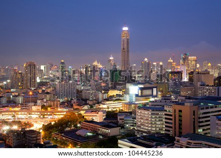 Aerial View of Bangkok Skylines at Victory Monument Downtown Cityscape at Dusk