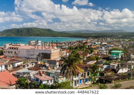Aerial view of Baracoa, Cuba - stock photo