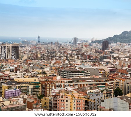 Aerial view of Barcelona city - stock photo