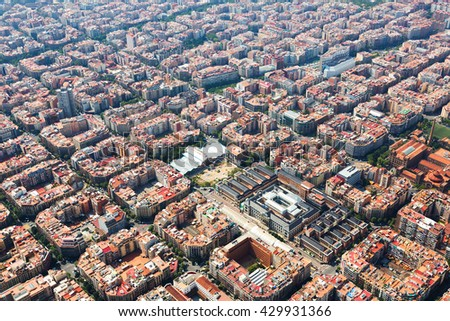Aerial view of Barcelona. Eixample residential district