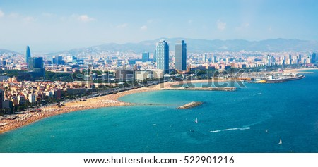 aerial view of Barcelona from  sea. Spain