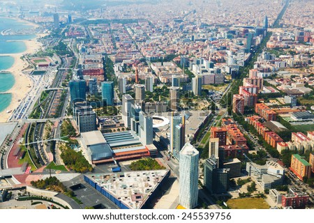 Aerial view of Barcelona with coastline from helicopter.  Catalonia  - stock photo