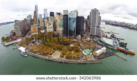 Aerial view of Battery Park City and southern Manhattan's Financial District in downtown New York City - stock photo