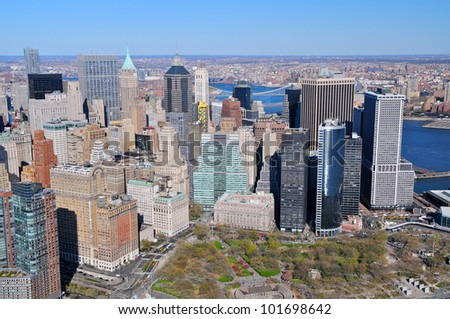 Aerial view of Battery Park, New York - stock photo