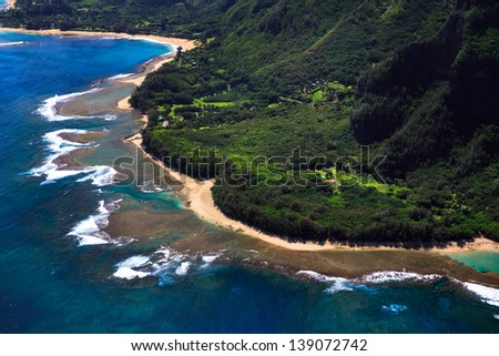 Aerial View of beach and reef system on the Hawaiian Island of Kauai - stock photo
