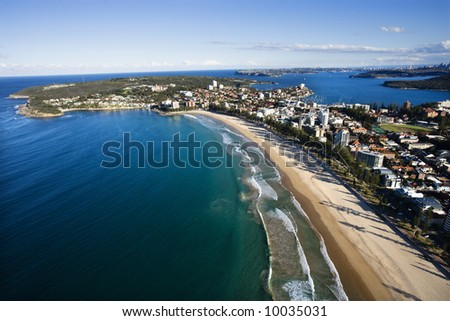 Aerial view of beachfront buildings and ocean in Sydney, Australia. - stock photo