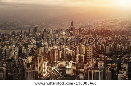 Aerial view of beautiful cityscape on sunset, arabic architecture, down town, middle east, Lebanon, travel and vacation concept - stock photo