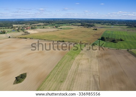 Aerial view of beautiful Masurian countryside, Poland - stock photo