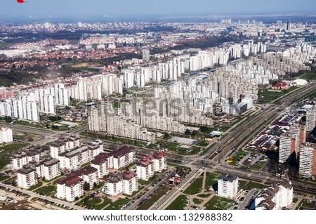 Aerial view of Belgrade, capital of Serbia - stock photo