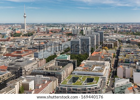 Aerial view of Berlin with Television tower or Fernsehturm - stock photo