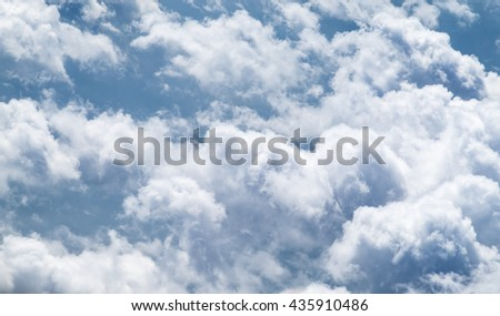 Aerial view of big cloudy and sky from airplane,Nature background - stock photo