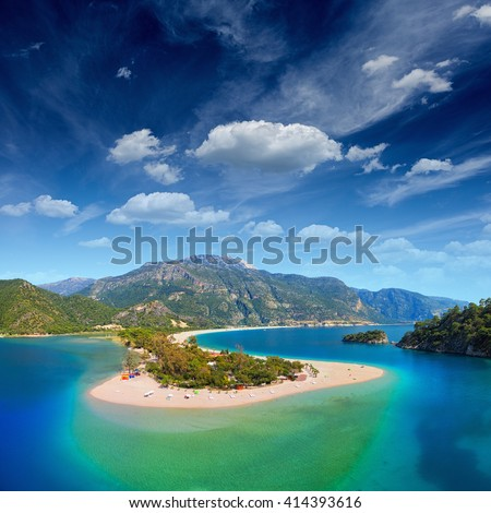 Aerial view of blue lagoon in Oludeniz, Fethiye district, Turquoise Coast of southwestern Turkey - stock photo